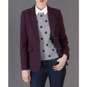 Boden Burgundy & Navy Piped Preppy Wool Blazer